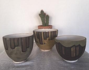 Vintage Pottery Bowls, Set of 3 Southwestern Style Vintage Handmade Pottery Bowls, Three varying size bowls, Beautiful Gift Idea