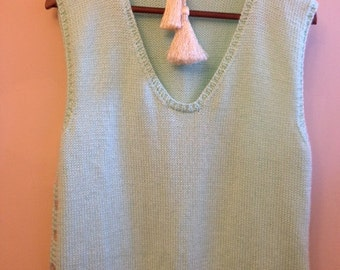 Hand Knit Womans Vest Light Green