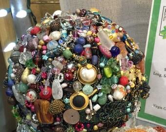 Vintage Bejeweled Bowling Ball Art