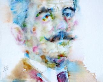 WILLIAM FAULKNER - original watercolor portrait - one of a kind!