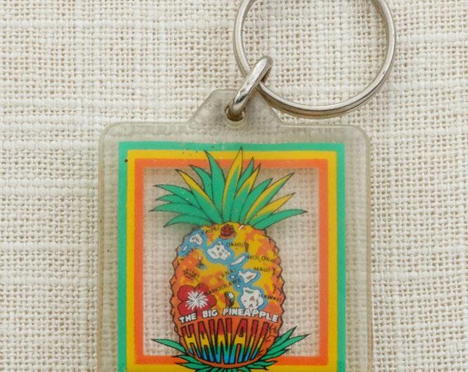 Hawaii Vintage Keychain The Big Pineapple Kauai Oahu Maui Molokai Lanai Key FOB Key Chain 16U