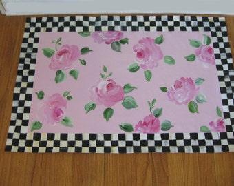Cabbage Roses Floor Cloth