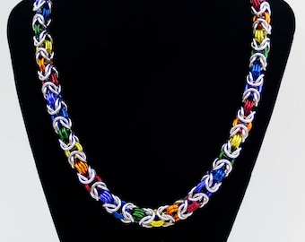 Rainbow Byzantine Chainmaille Necklace