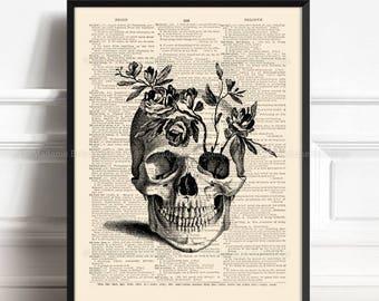 Floral Skull Print, Skull Poster Print, Skull Artwork, Husband Xmas Gift, Print Bathroom, Coworker Gift, Human Anatomy Poster Home Decor 165