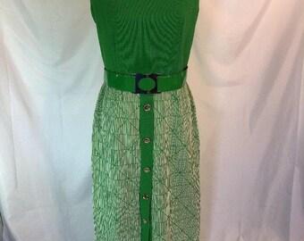 Vtg 70s Alison Ayres Original Green Maxi Dress Textured Mod Dress 14