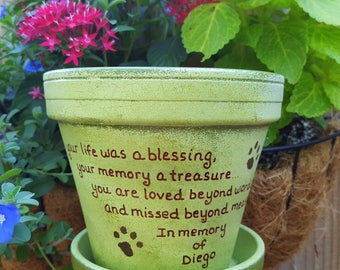 Large Planter - Sympathy Pet Gift - Dog Memorial Gift - Painted Flower Pot - Pet Memorial Planter - Cat Memorial Gift