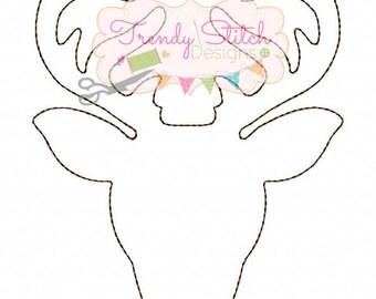 Deer Head Silhouette Applique Design machine embroidery design INSTANT DOWNLOAD