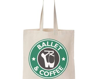 Ballet bag, dance bag, ballerina tote bag, gift, ballet shoes, pointe shoes, coffee tote bag, dance tote, pointe bag, ballet tote