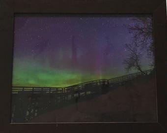 Framed Sleeping Bear Dunes with Aurora Photo