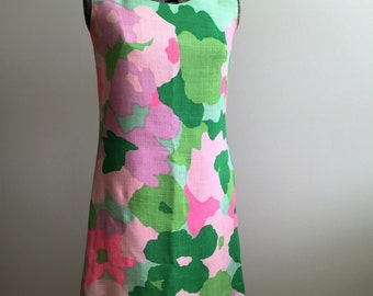 Vintage 60's Alex Colman Designer Green and Pink Dress
