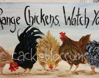 """11"""" X 22"""" #412 Chicken Art on Wood Original Chickens Sign"""