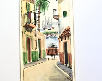 Majorca Harbour Cathedral Signed Watercolor Coloniel Majorca Vintage Art OOAK Painting Watercolor Painting Vintage Cityscape