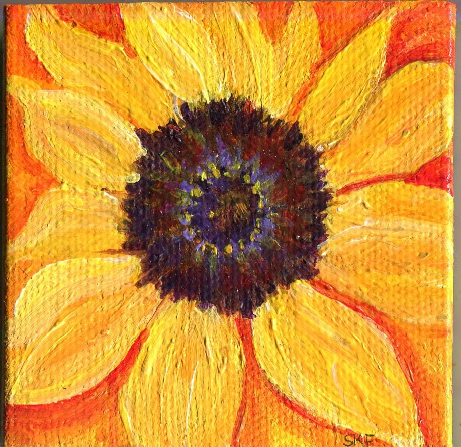 Sunflowers acrylic painting mini canvas art Original easel