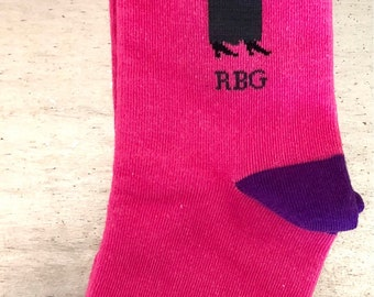 Ruth Bader Ginsburg crew socks designed by Maggie Stern