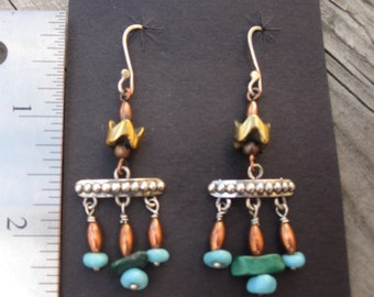Southwestern shoulder duster beaded dangle earrings silver with turquoise and copper