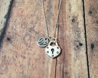 Heart padlock initial necklace - heart jewelry, padlock necklace, silver heart necklace, sweetheart necklace, Valentine's Day necklace