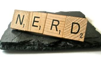 NERD Scrabble letter Tie Bar Hair Slide tile jewellery upcycled Letter GEEK wear Statement Jewellery