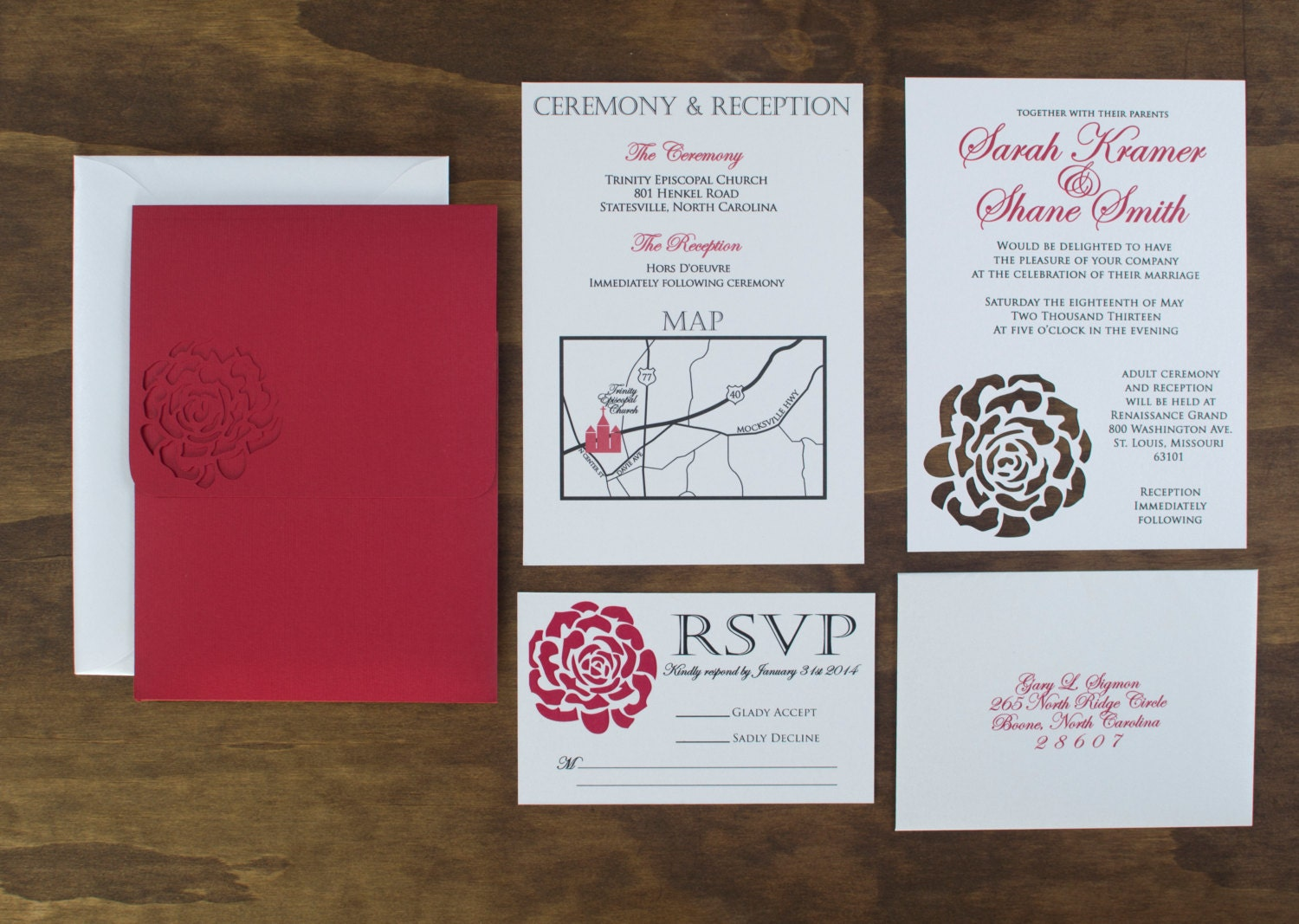 Red Rose Wedding Invitation SAMPLE