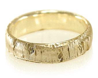 Aspen Bark Yellow Gold Mens Wedding Band in 10k Gold, 14k Gold, 18k Gold, or Palladium, Tree Bark Wedding Band, Tree Bark Ring