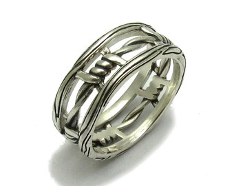 Sterling silver ring solid 925 barbed wire band pendant