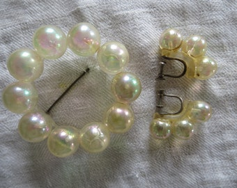 ON SALE Translucent Pearly Demi-Parure - Circle Pin and Matching Earrings