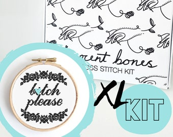 XL B*tch Please Modern Cross Stitch Kit - easy chart design cheeky offensive bad taste mature embroidery kit swear words