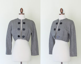 vintage 1950s houndstooth bolero jacket / 50s Valerie De Galan black and white print cropped jacket / S