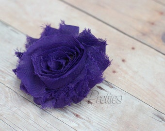Grape Shabby Flower Hair Clip