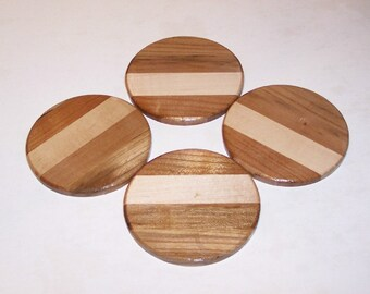 Round Coasters  (Set of 4) Handcrafted from Mixed Hardwoods