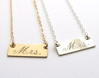 New Bride Gift • Mrs. Bar Necklace • Honeymoon Gift • Bridal Shower Gift • Just Married Necklace • Bar Layering Necklace • Engraved Mrs