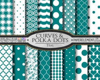 Teal Polka Dot Digital Paper: Teal Blue Digital Geometric Paper - Printable Teal and White Backgrounds with Teal Green Patterns
