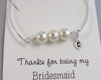 Three Pearl Bracelet,Pearl Bracelet,Pearl Jewelry,Wedding Jewelry,Wedding Pearl,Bridesmaid Jewelry,Bridesmaid Gift,Personalized,Customized