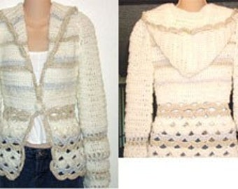 Crochet Pattern for Hooded Cardigan Sweater Jacket pdf