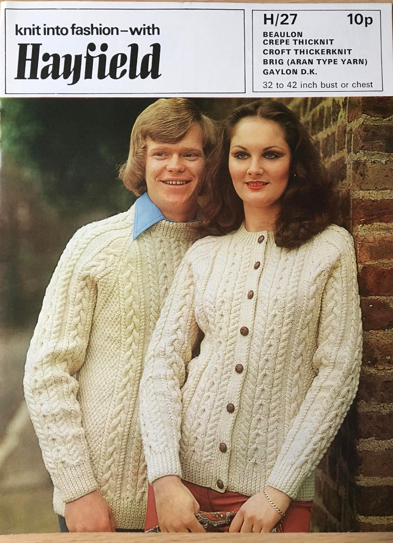 Ladies Mens Knitting Pattern, Hayfield Knitting Pattern, Ladies ...