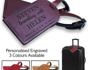 "A Pair of Personalised,  Laser Engraved, Genuine  Tan Leather Luggage Tags - On Holiday ""Travelling With""  -  L1009"