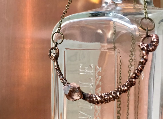 Herkimer diamond Electroformed Necklace, Necklace, Crystal Necklace, Copper Necklace, herkimer diamond, Electoroformed necklace