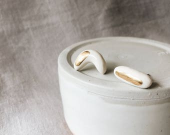 Bar and Crescent White and Gold Ceramic Stud Earrings