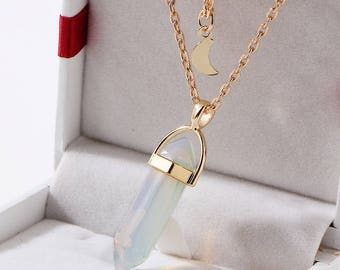 Bullet Shaped Crystal Stone with Moon Layered Necklace