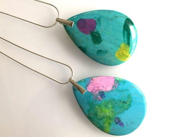 Turquoise gemstone pendant, turquoise jasper necklace, statement aquamarine necklace,  sea green pendant, turquoise pendant,
