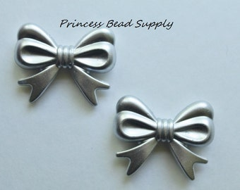 Set of 2 Silver Bow Beads, 36mm x 46mm Silver Bow Beads, Bubble Gum Beads,  Gumball Beads, Acrylic Beads, Big Beads,