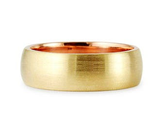 Solid 8mm 14k Two Tone Yellow Rose Gold Brush Satin Finish Comfort Fit Wedding Band Ring // His Hers // All Sizes