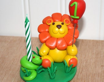 Custom Made Lion and Snake Cake Topper and Candle Holder