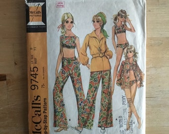 1960s Junior Petite bathing suit, pants and blouse, high neck crop top style swimsuit McCall's 9745 Size 9 Bust 33""