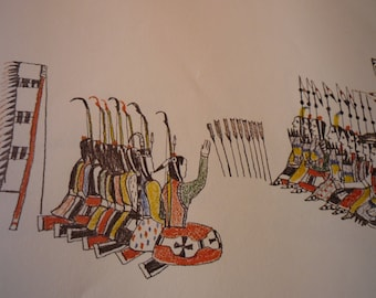 Gambling with Hair Pipe - Zo Tom & Howling Wolf Plains Indians Sketch Books - Art Print - Native American art for 11 x14 frame matted