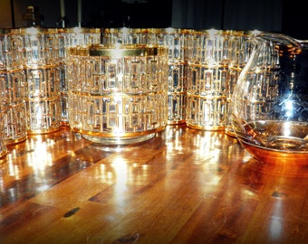 """RESERVED for Paige--Rare, Pristine 9-Pc. """"Shoji-Gold"""" Bar Set by Imperial Glass--8 Tall Tumblers & Ice Bucket--Plus, IG Gold-Bottom Pitcher"""
