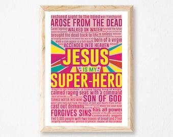 """Jesus Is My Super-Hero - Toddlers Room, Super Hero, Over Crib Art, Baby Bedroom Decor, Pink Super-Hero Print, Measures 11""""x 17""""."""