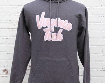 90's Vintage VIRGINIA TECH Gray Hoodie Virginia Tech University Hokies Blacksburg Virginia Maroon Burnt Orange Size Small