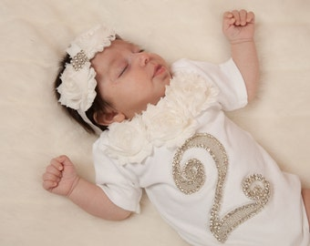 Two Month Old Infant Baby Girl One Piece Set White Short Sleeve Set with Chiffon and Rhinestones