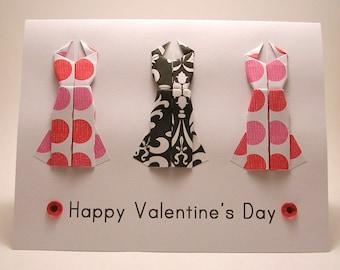 CLEARANCE Mini Origami Dress Card (Valentine, pink dots black damask)