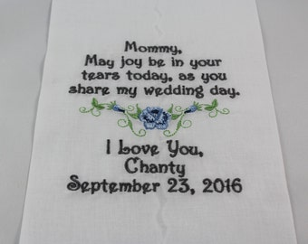 Mother of the Bride - Embroidered Handkerchief - Wedding Gift - Keepsake - Simply Sweet Hankies